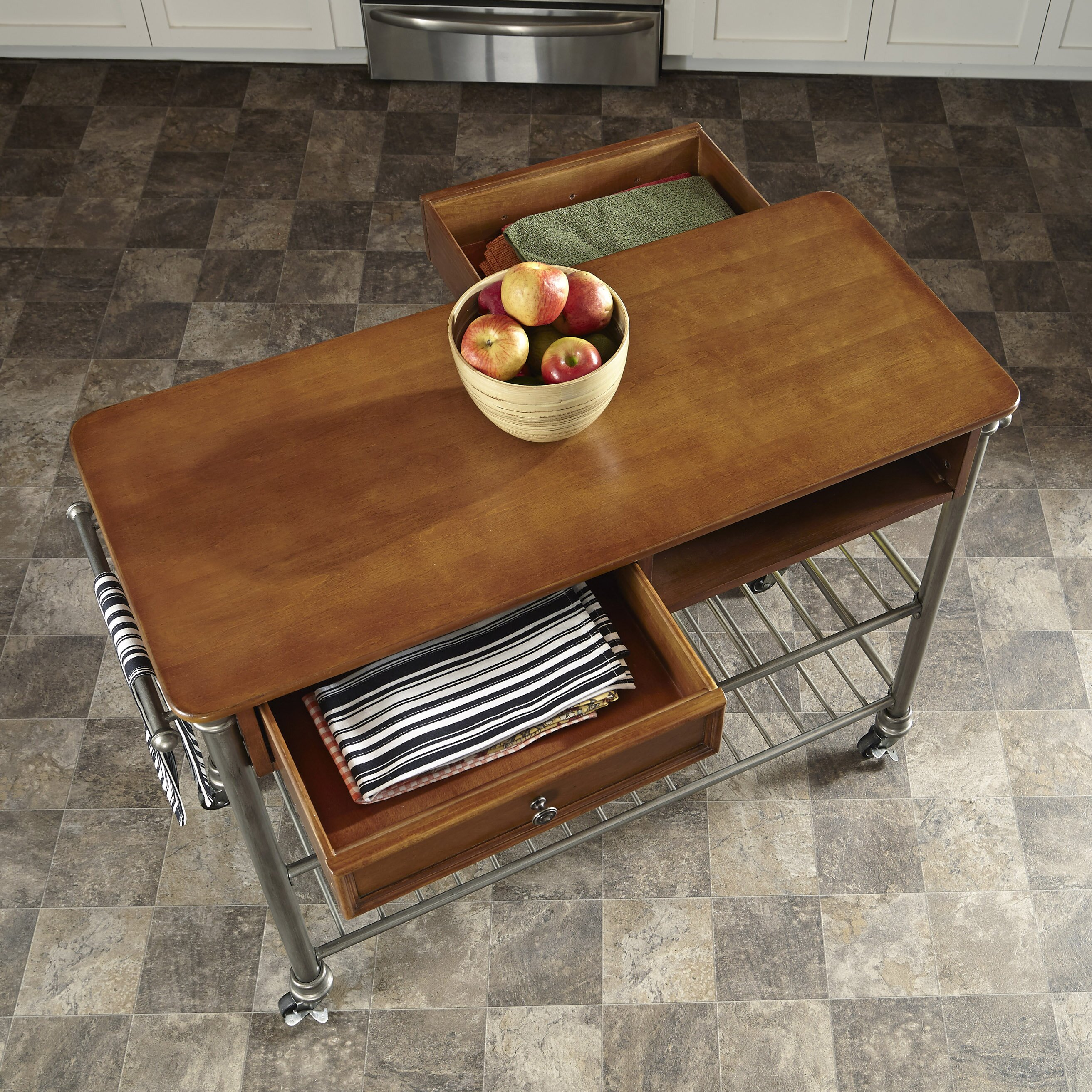 Kitchen Wood Top: Red Barrel Studio Kibbe Kitchen Island With Wood Top