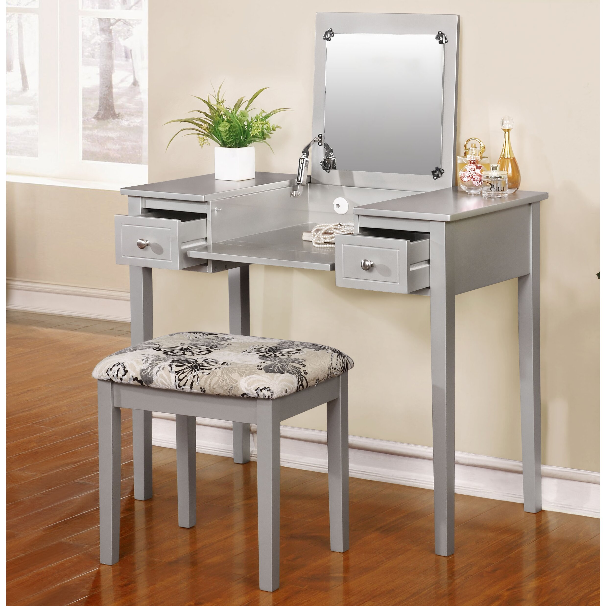 Red Barrel Studio Saw Works Vanity Set with Mirror ...