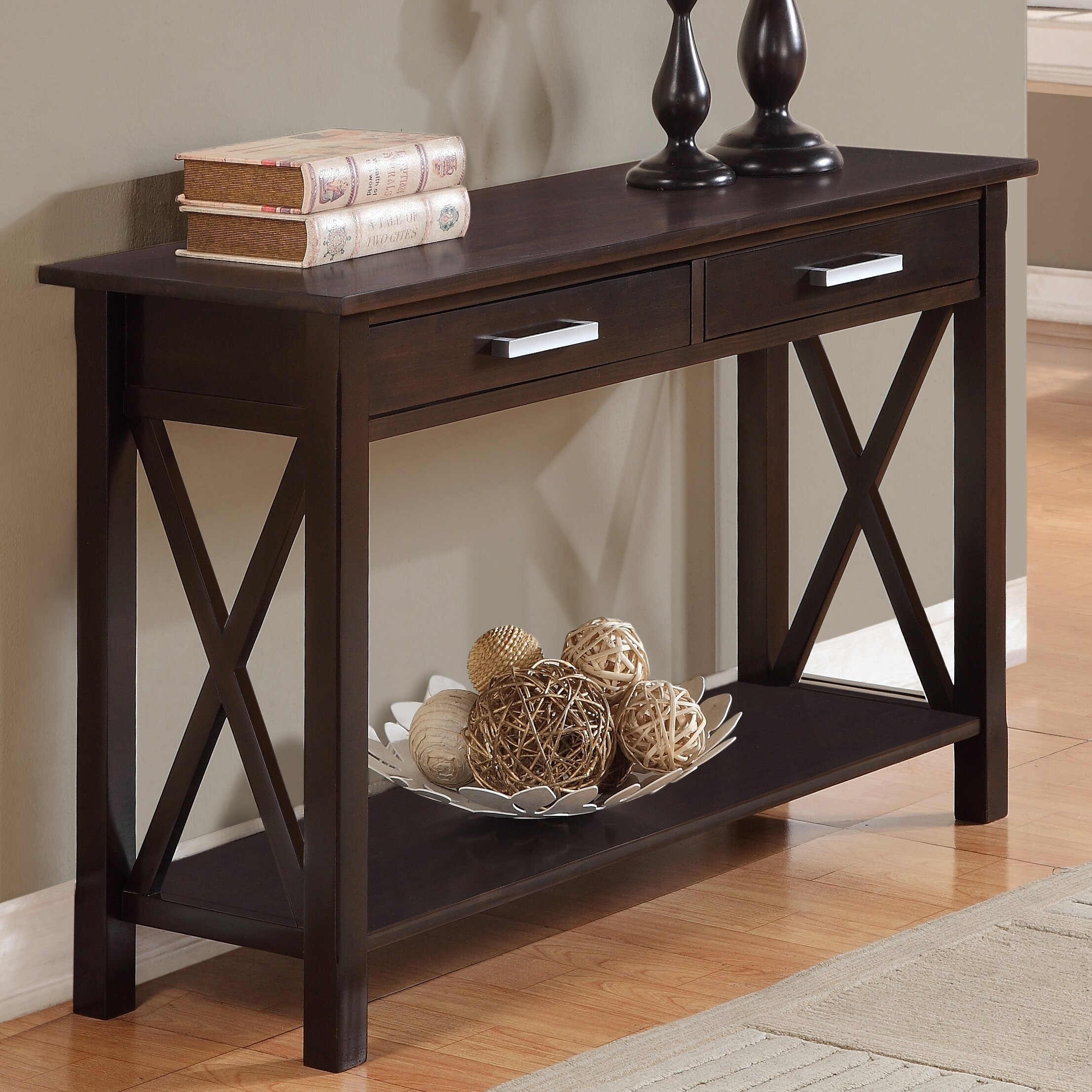 simpli home kitchener console table amp reviews wayfair