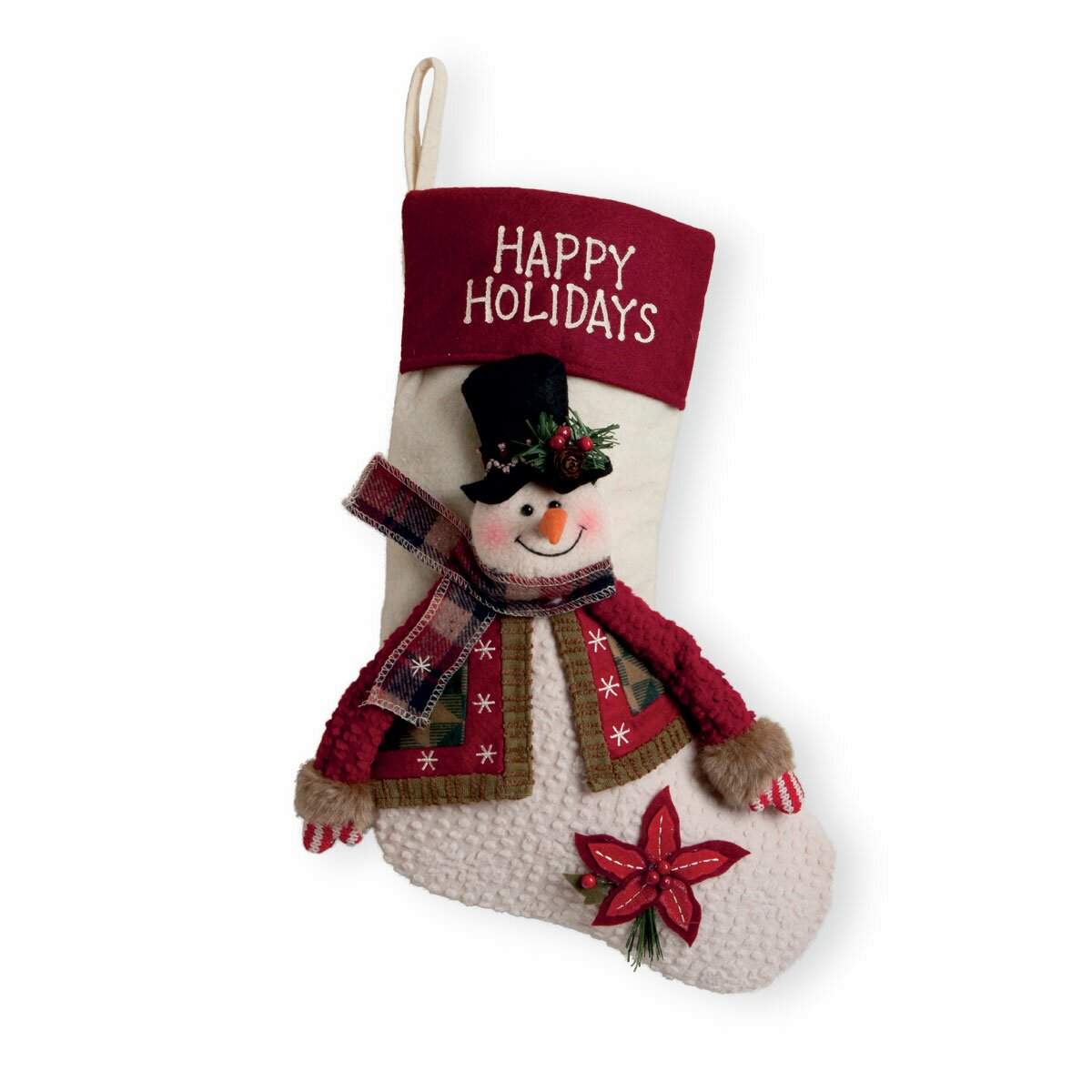 "Boston Christmas Tree Delivery: Boston International 15.5"" Happy Holidays Snowman Stocking"