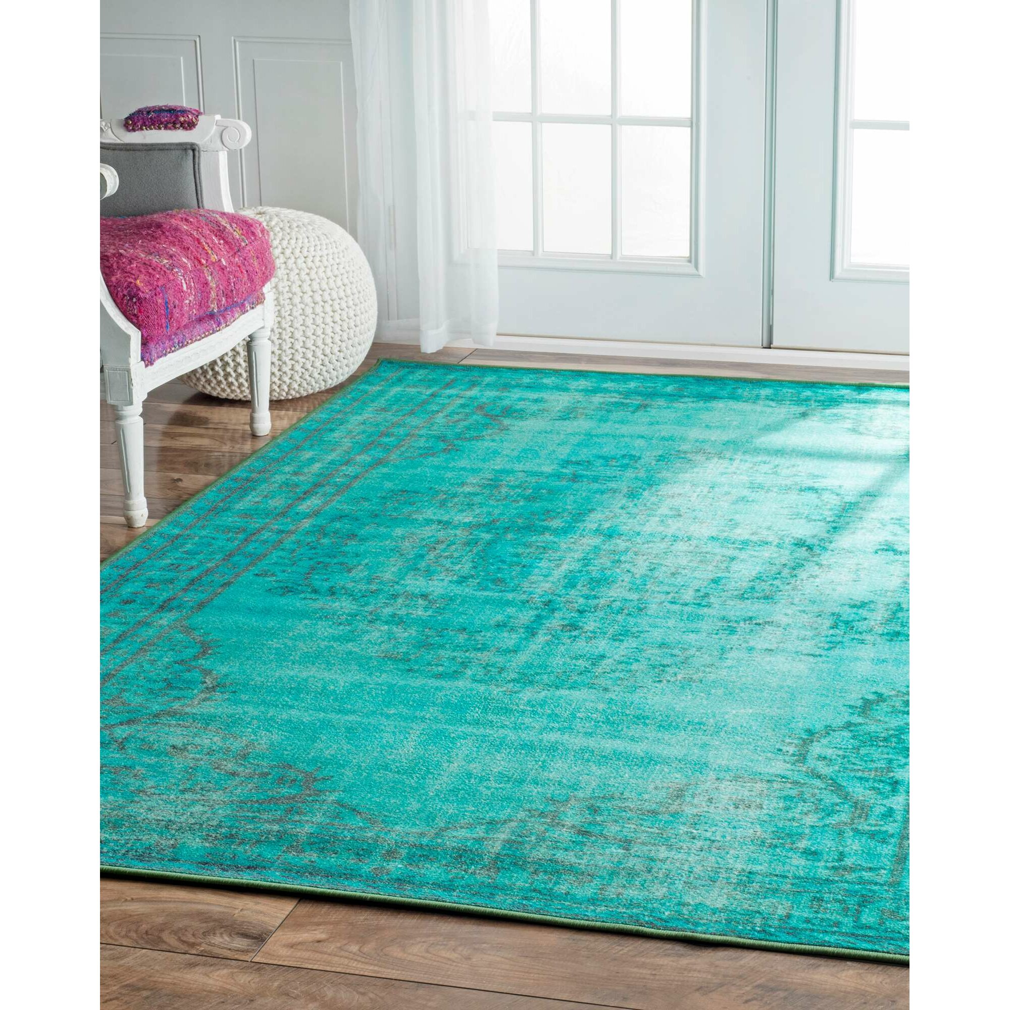 Nuloom Crandall Turquoise Area Rug Reviews: Nuloom Inc Overdyed Turquoise Area Rug & Reviews
