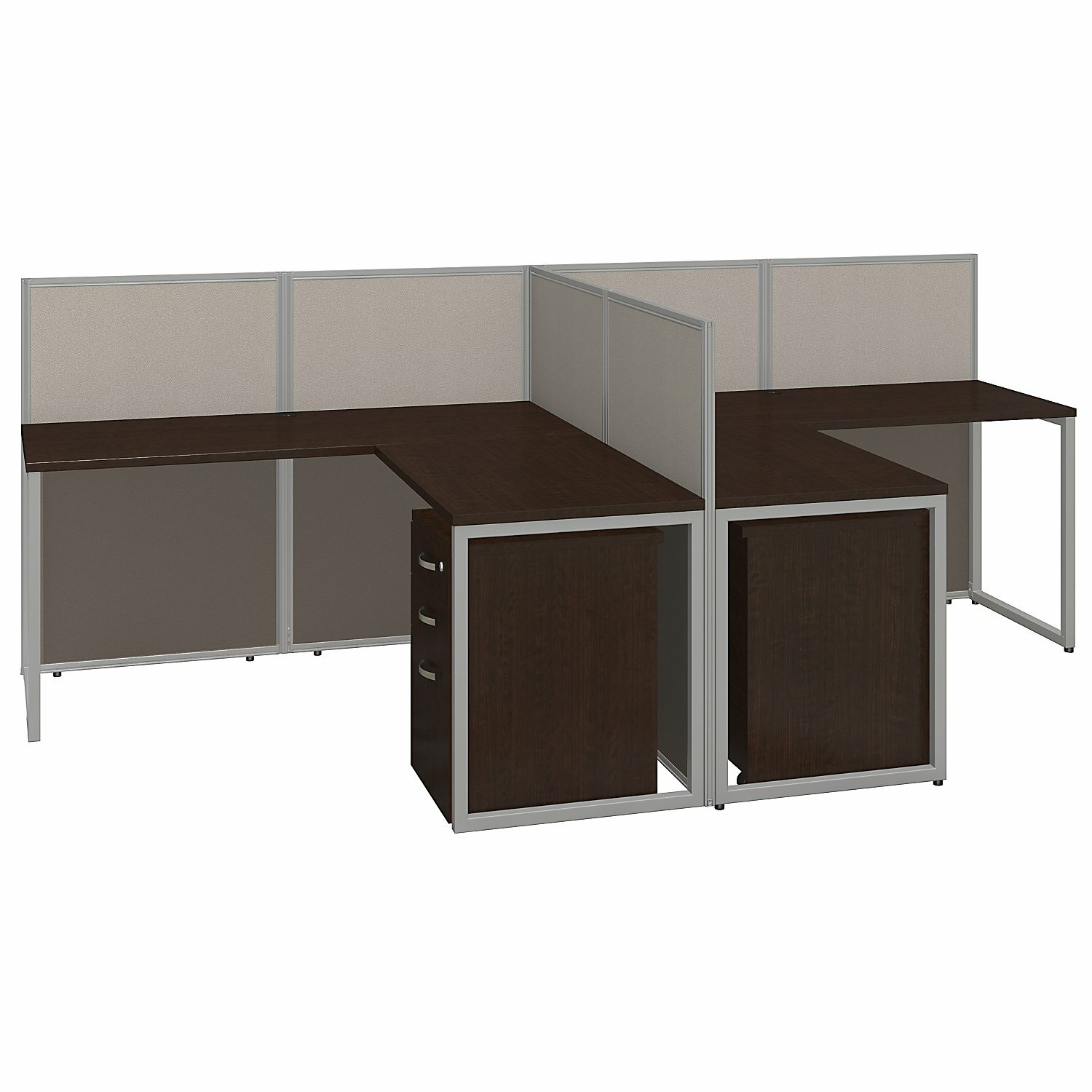 Bush Business Furniture Easy Office L Shape Desk Open Office With File Pedestals Reviews Wayfair