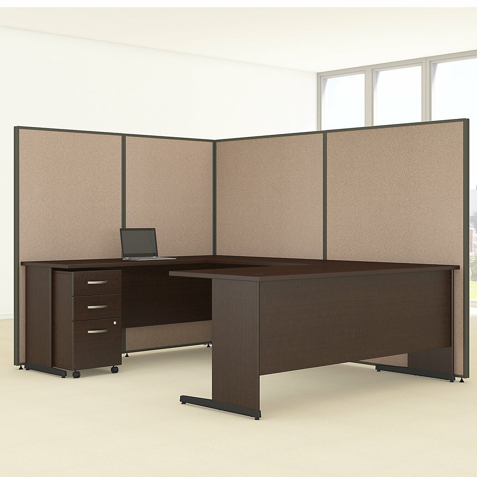 3 Piece Office Furniture ~ Bush business furniture propanel piece u shape desk