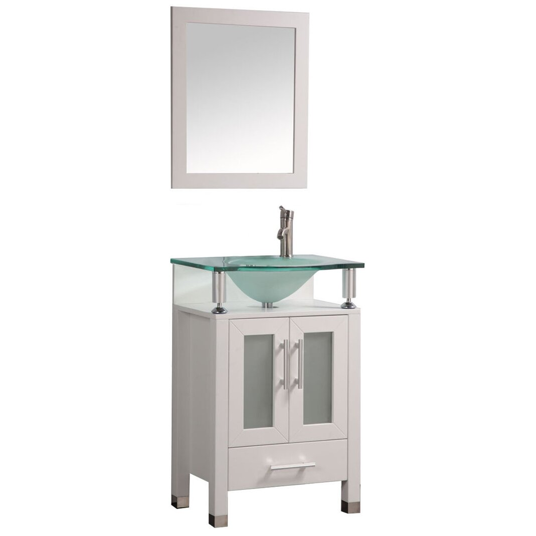 Mtdvanities beliza 24 single sink bathroom vanity set with mirror reviews wayfair Bathroom sink and vanity sets