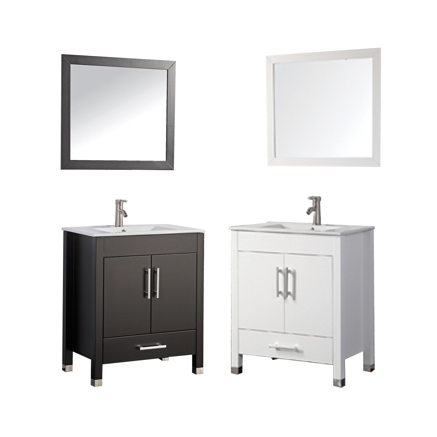 MTDVanities Monaco 24 Single Sink Bathroom Vanity Set With Mirror Way