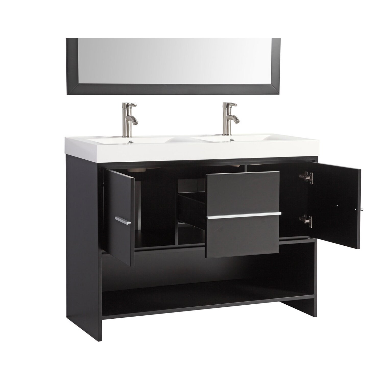 "Double Sink Mirrored Bathroom Vanity: MTDVanities Belarus 48"" Double Sink Bathroom Vanity Set"