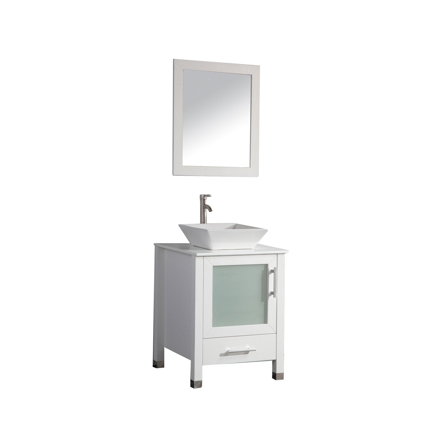 New MTDVanities Malta 18quot Single Sink Bathroom Vanity Set With Mirror