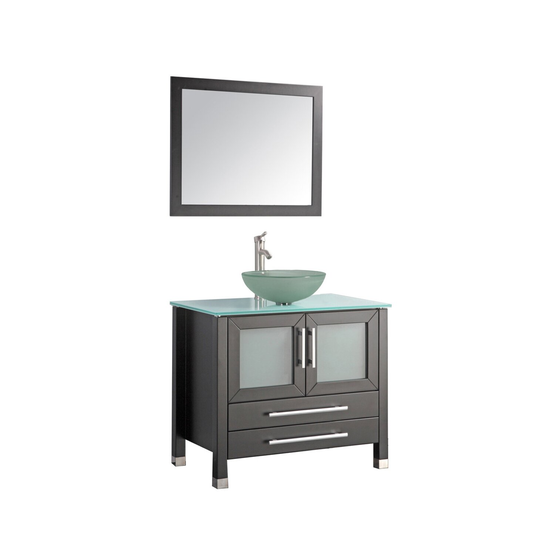 Mtdvanities cuba 36 single sink bathroom vanity set with for Bathroom mirror set