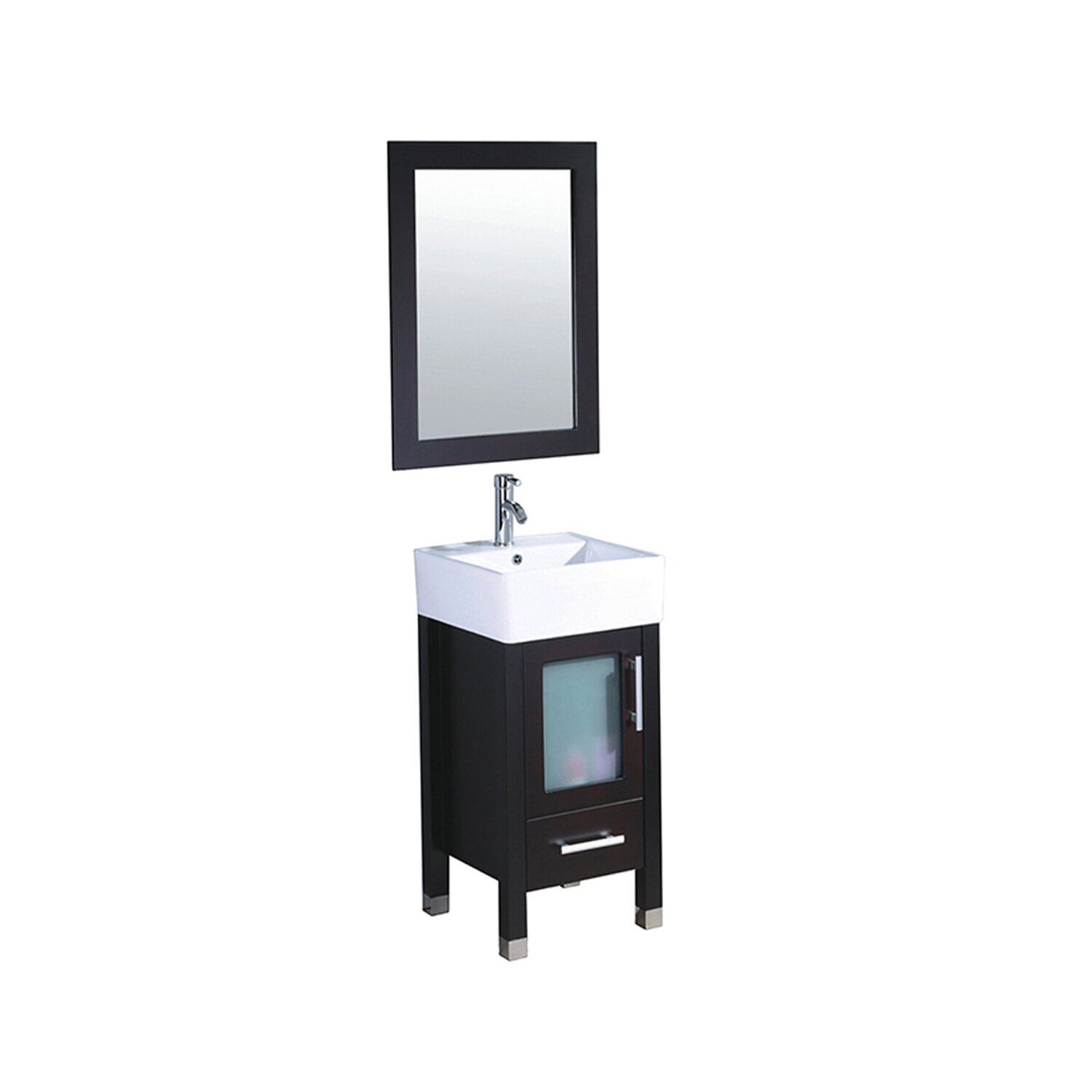 MTDVanities Malta 18 Single Sink Bathroom Vanity Set With Mirror