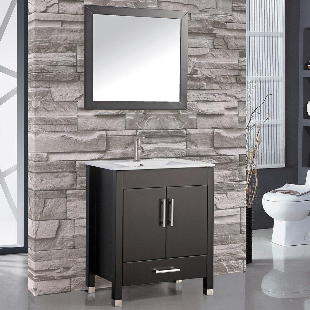 Mtdvanities monaco 24 single sink bathroom vanity set for Bathroom mirror set