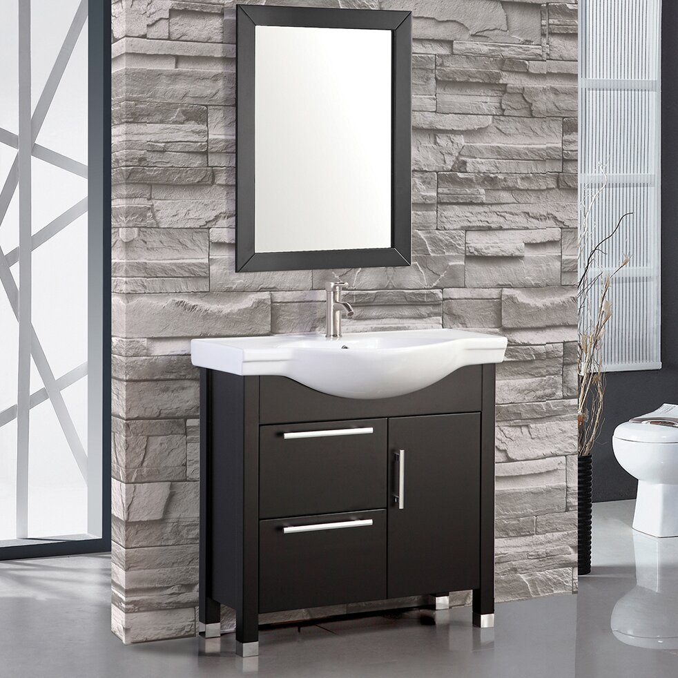 MTDVanities Peru 36 Single Sink Bathroom Vanity Set With Mirror Wayfair