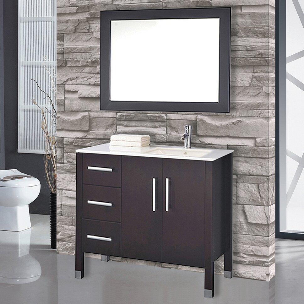 mtdvanities monaco 40 single sink bathroom vanity set with mirror reviews wayfair. Black Bedroom Furniture Sets. Home Design Ideas