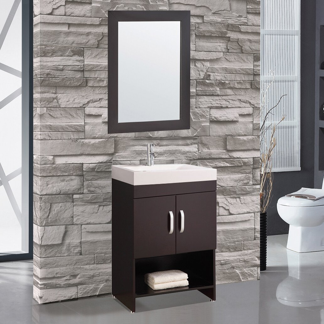 "MTDVanities Greece 24"" Single Sink Bathroom Vanity Set with Mirror &"
