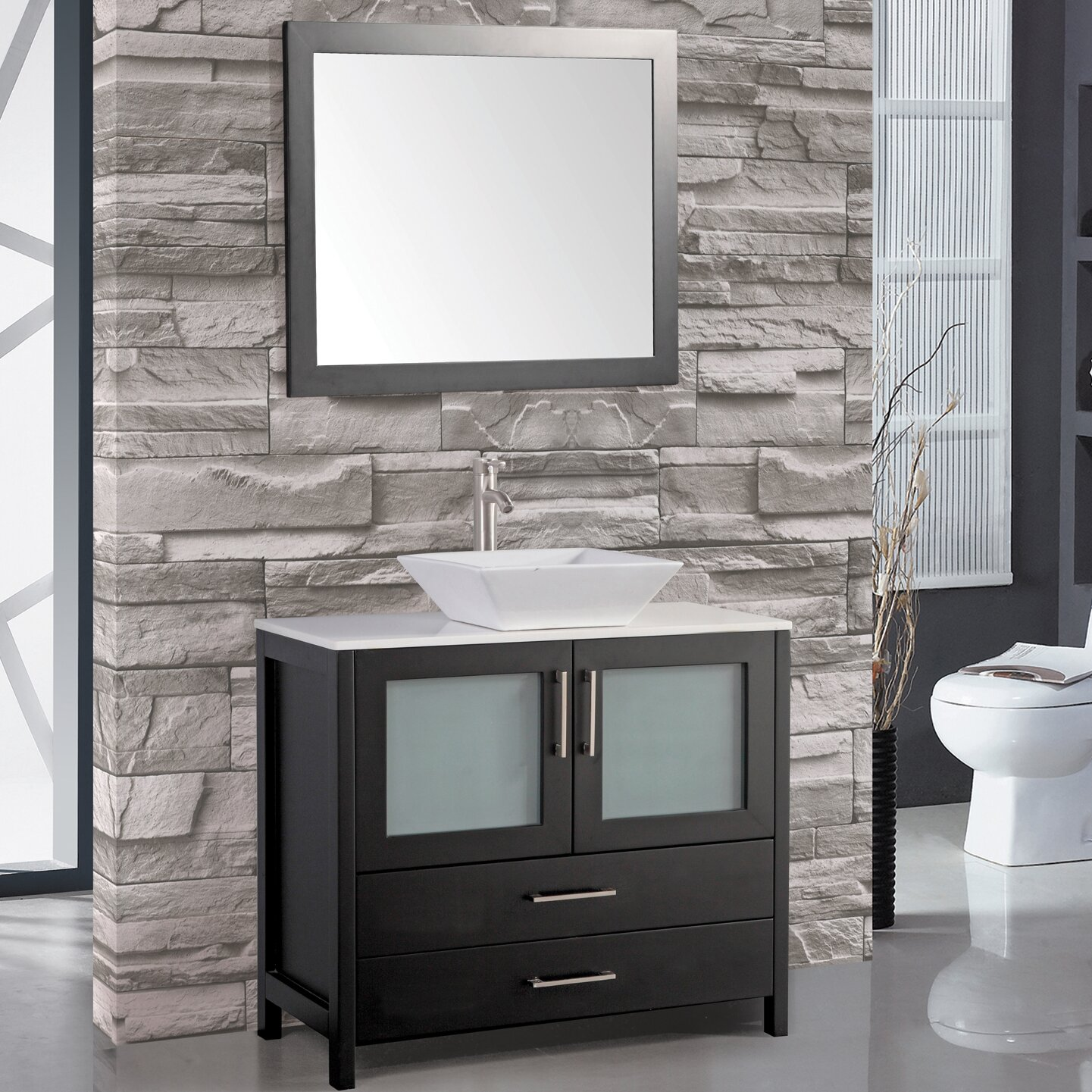 MTDVanities Jordan 48 Single Sink Bathroom Vanity Set With Mirror