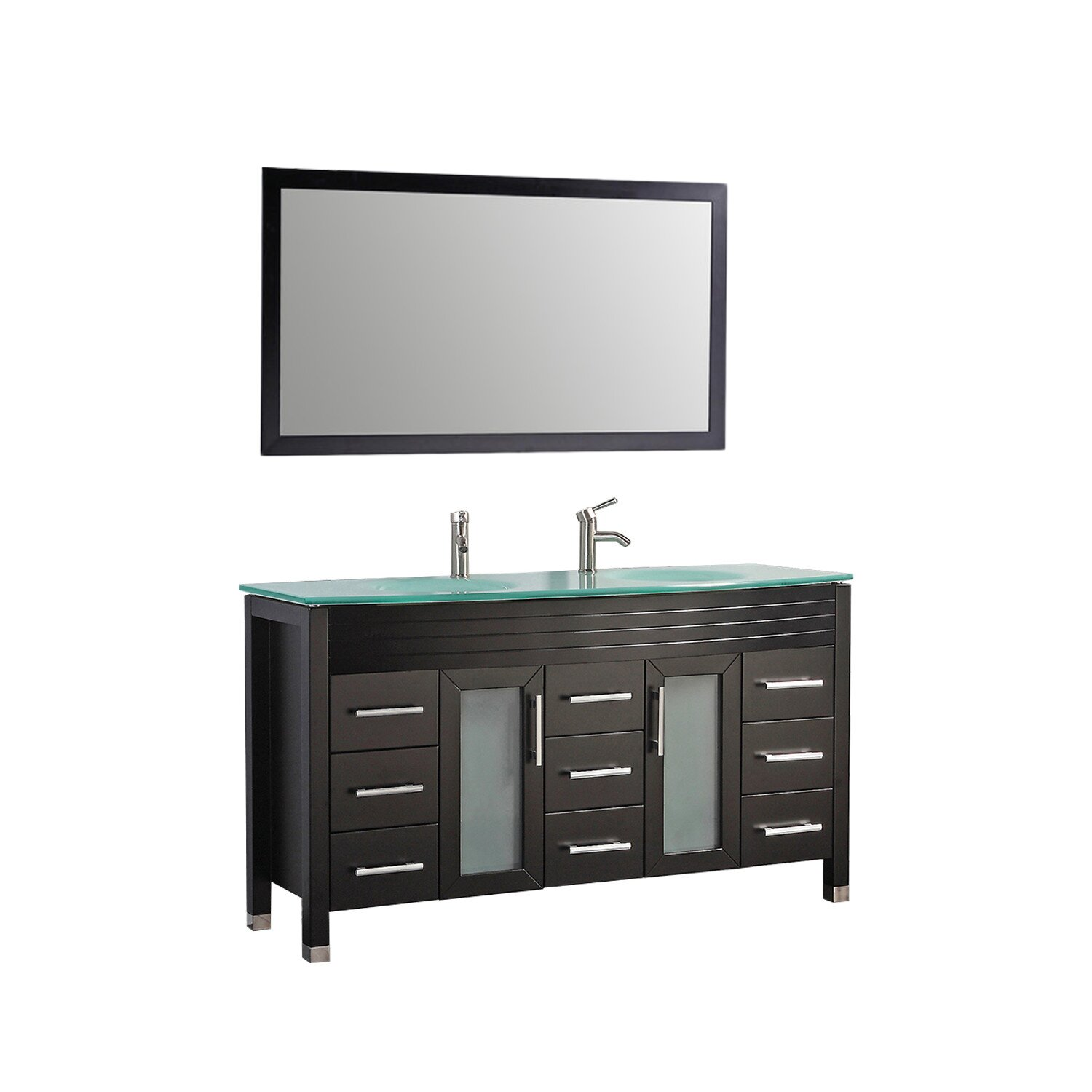 Mtdvanities figi 63 double sink bathroom vanity set with for Mirrors for bathroom vanity