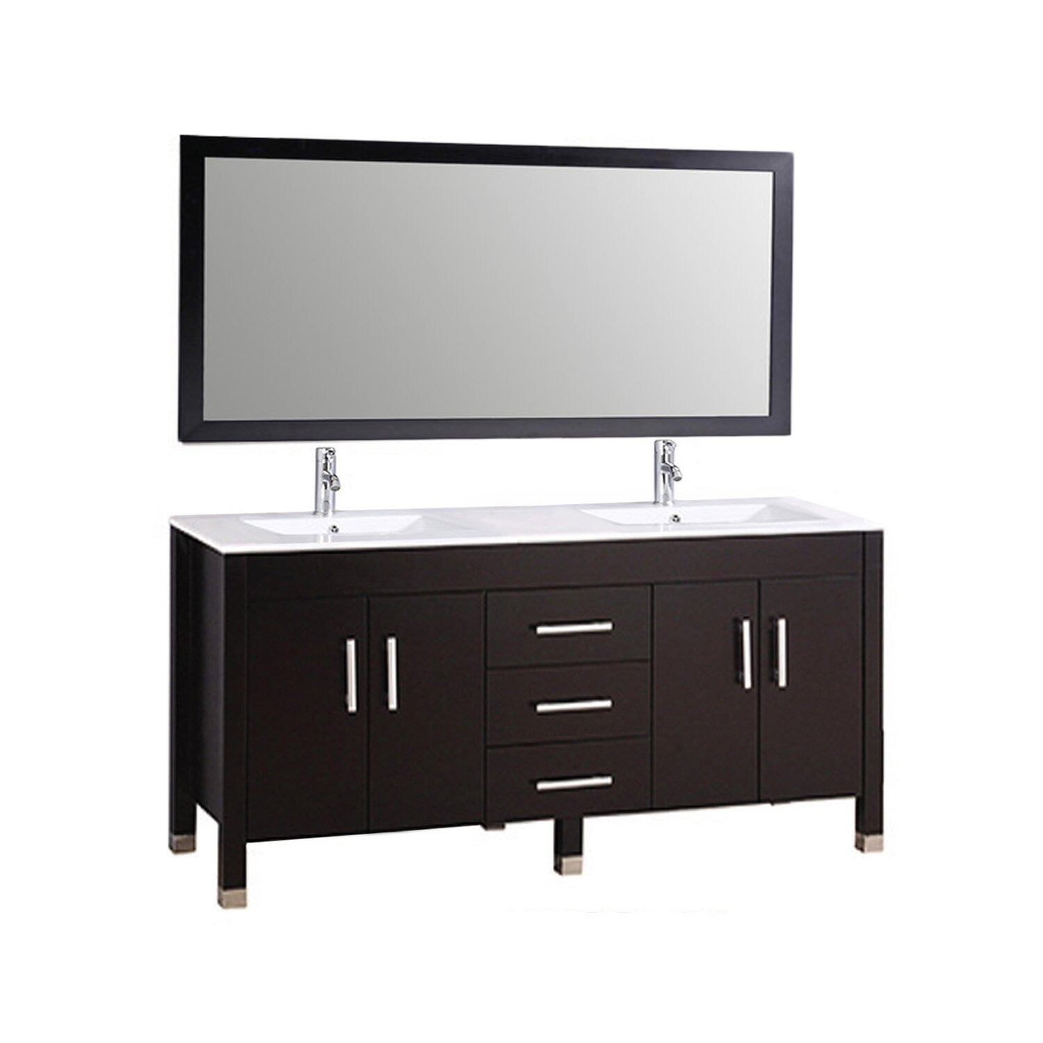 MTDVanities Monaco 63 Double Sink Bathroom Vanity Set With Mirror