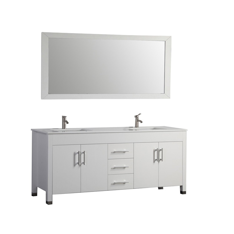 MTDVanities Monaco 71 Double Sink Bathroom Vanity Set With Mirror