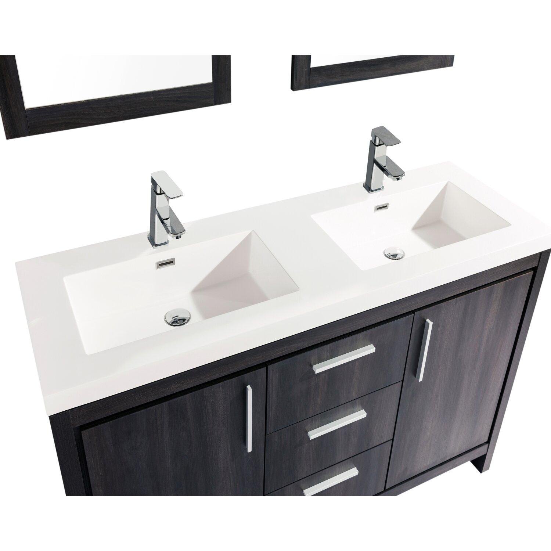 Mtdvanities Miami 59 Double Sink Modern Bathroom Vanity Set With Mirror