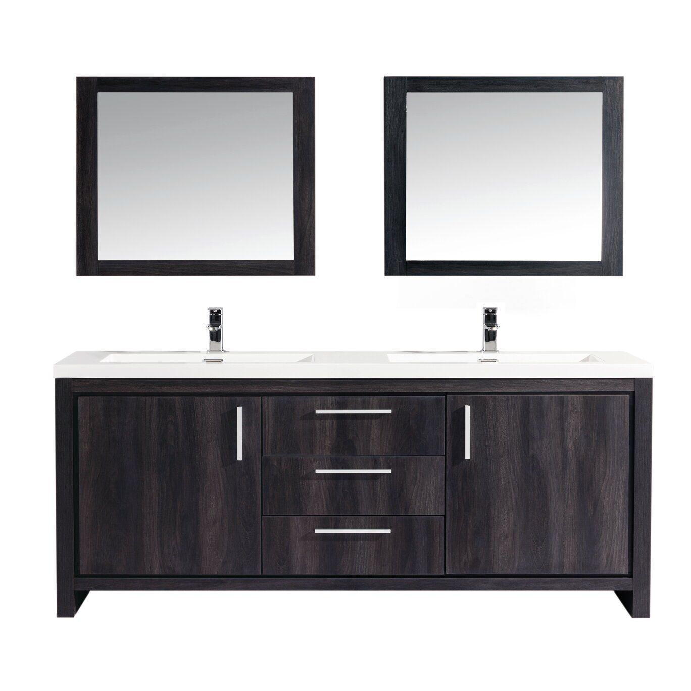 Mtdvanities Miami 59 Double Sink Modern Bathroom Vanity Set With Mirror Wayfair