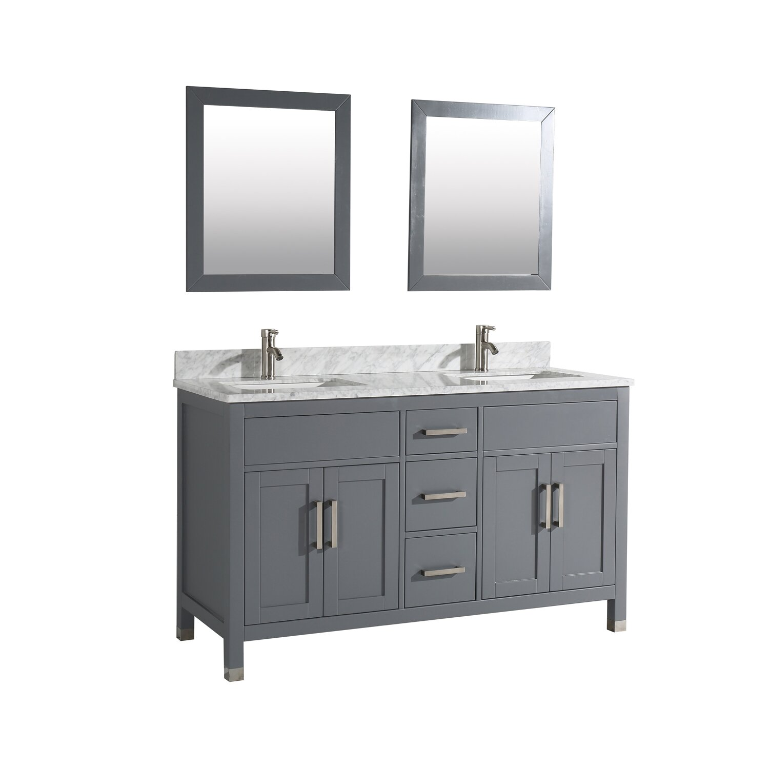 Mtdvanities ricca 60 double sink bathroom vanity set with mirror reviews Bathroom sink and vanity sets