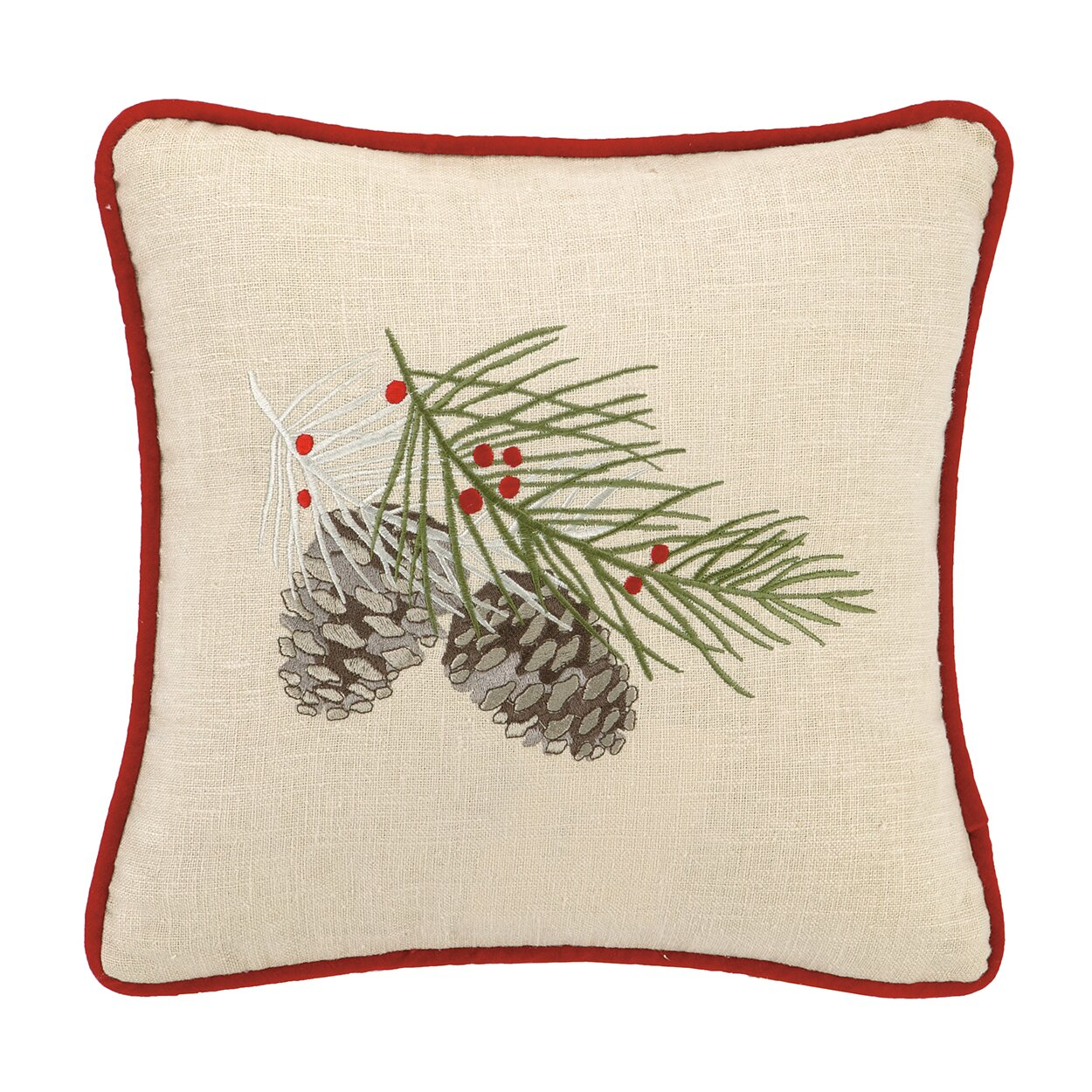 Laurel and Mayfair Winter Bird Embroidered Cotton Throw Pillow & Reviews Wayfair