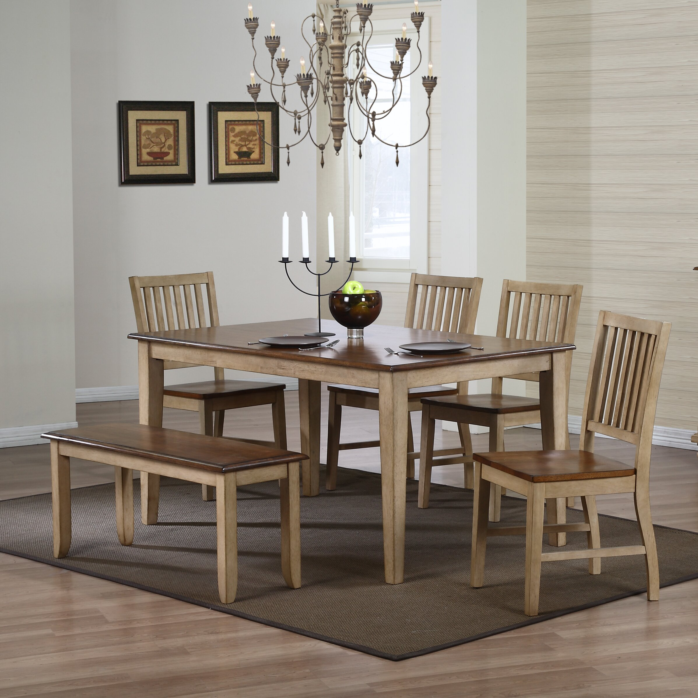 Sunset trading brook 6 piece dining set reviews wayfair for Dining room sets 6 piece