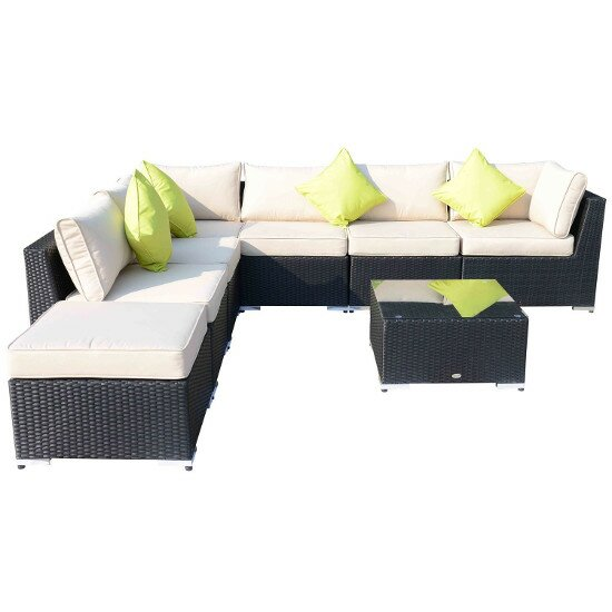 Hom Outsunny 8 Seater Sectional Sofa Set with Cushions & Reviews
