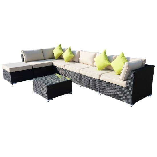 Homcom outsunny 8 seater sectional sofa set with cushions for Sectional sofa 6 seater
