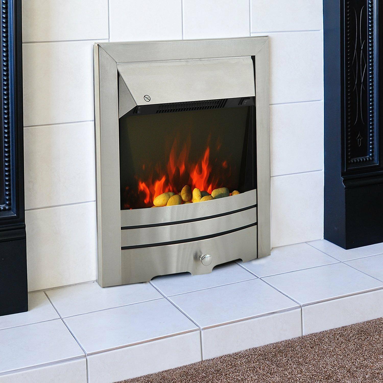 homcom stainless steel electric fireplace wayfair uk