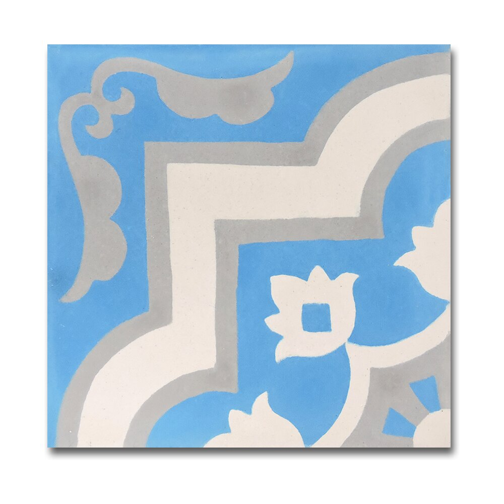 Moroccan mosaic tile house taza handmade 8 x 8 cement for Blue and white cement tile
