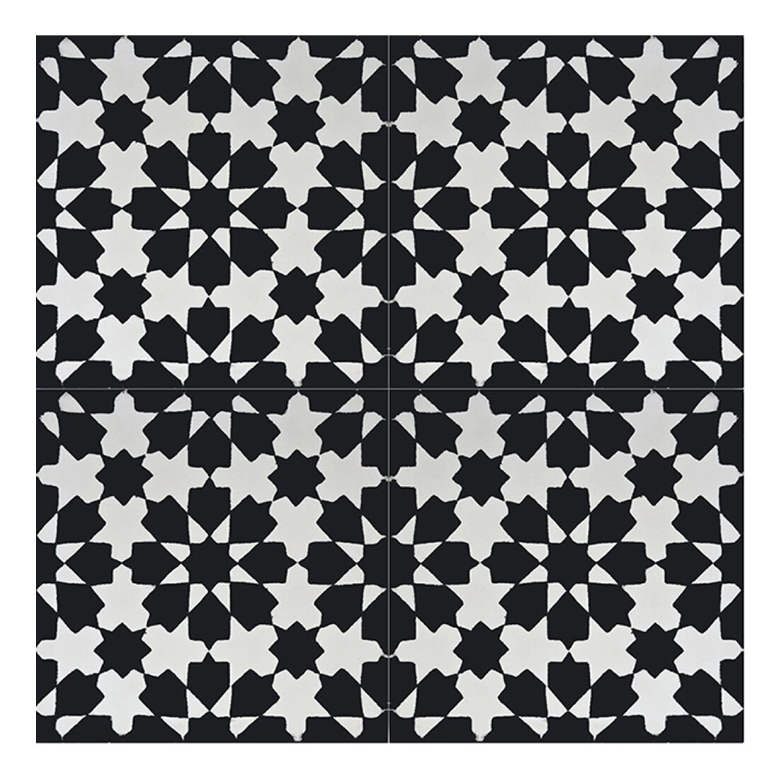 Moroccan mosaic tile house ahfir 8 x 8 cement tile in for Tiles black and white