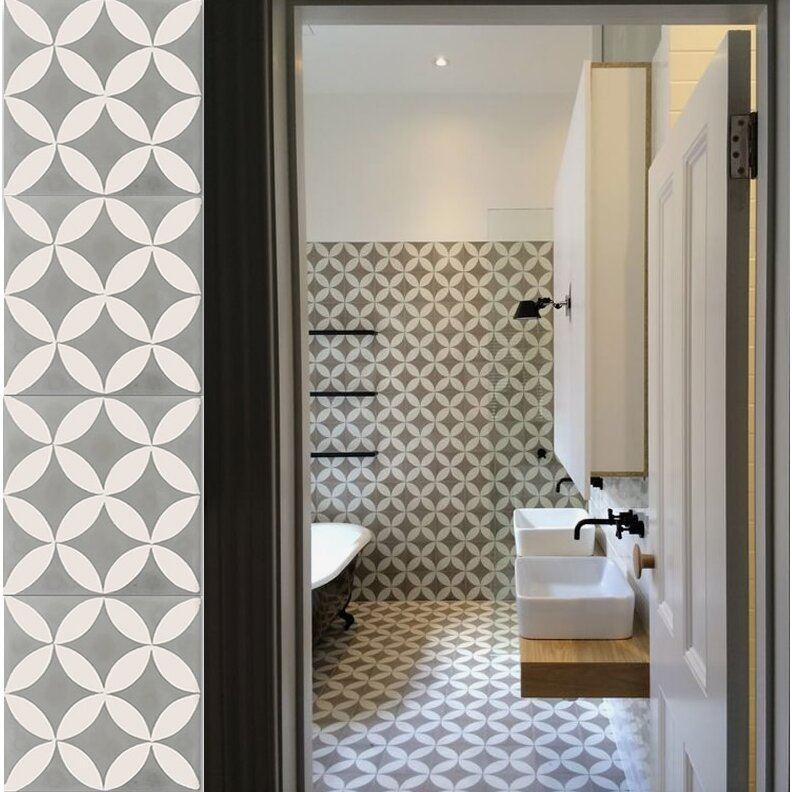 Moroccan Mosaic Tile House Amlo 8 X 8 Handmade Cement Tile In White And Gray Reviews Wayfair