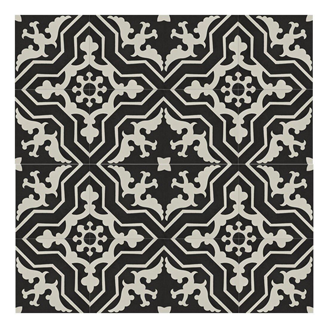 moroccan mosaic tile house temara 8 x 8 cement subway tile in black white wayfair. Black Bedroom Furniture Sets. Home Design Ideas