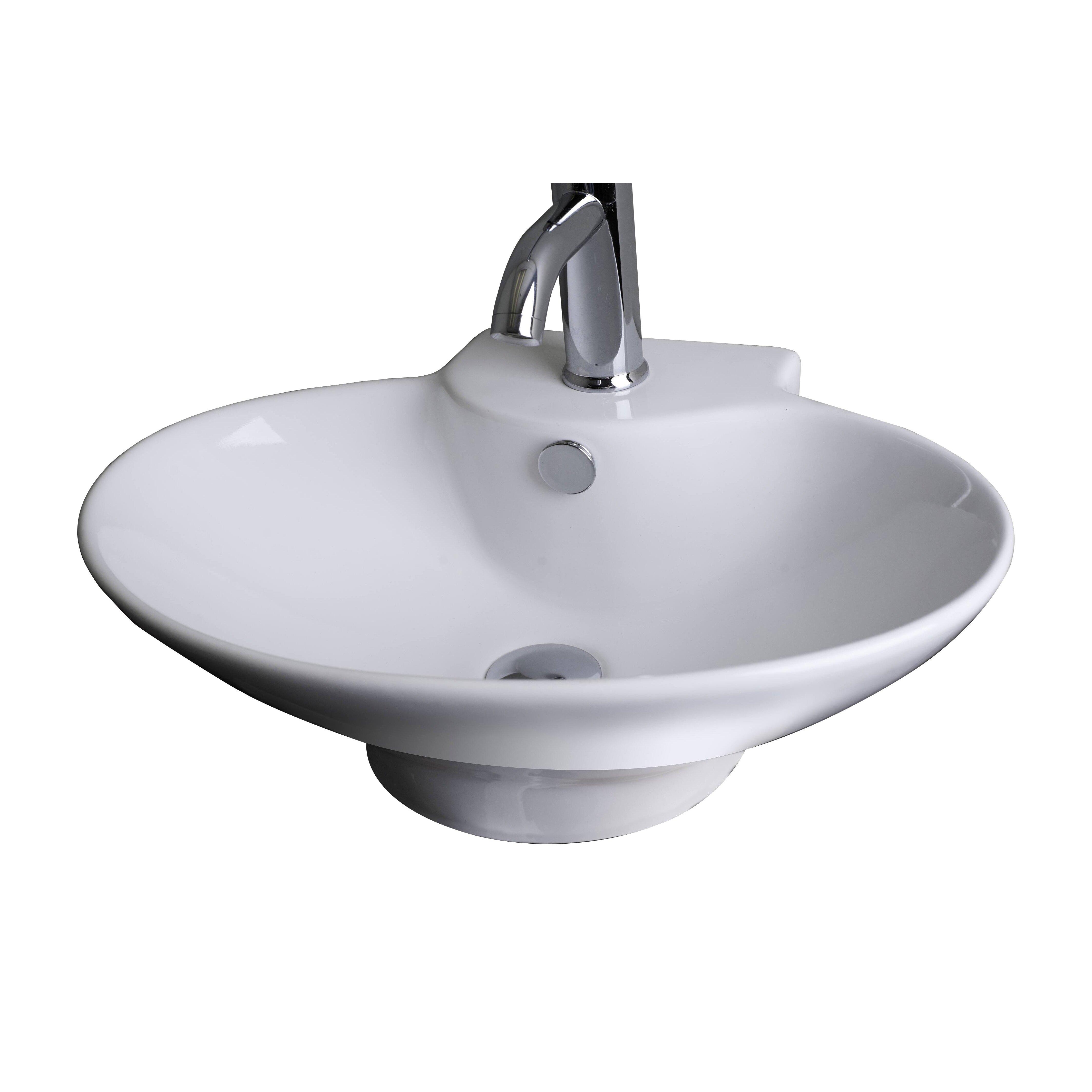 ... Wall Mounted Oval Vessel Bathroom Sink & Reviews Wayfair.ca