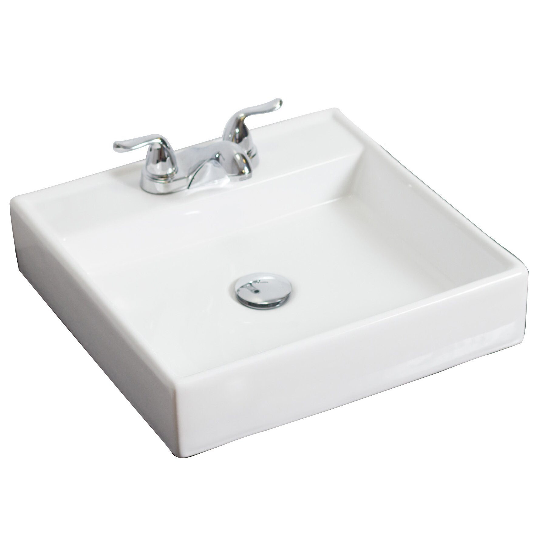 American imaginations above counter square vessel bathroom sink reviews wayfair for Above counter bathroom sinks glass