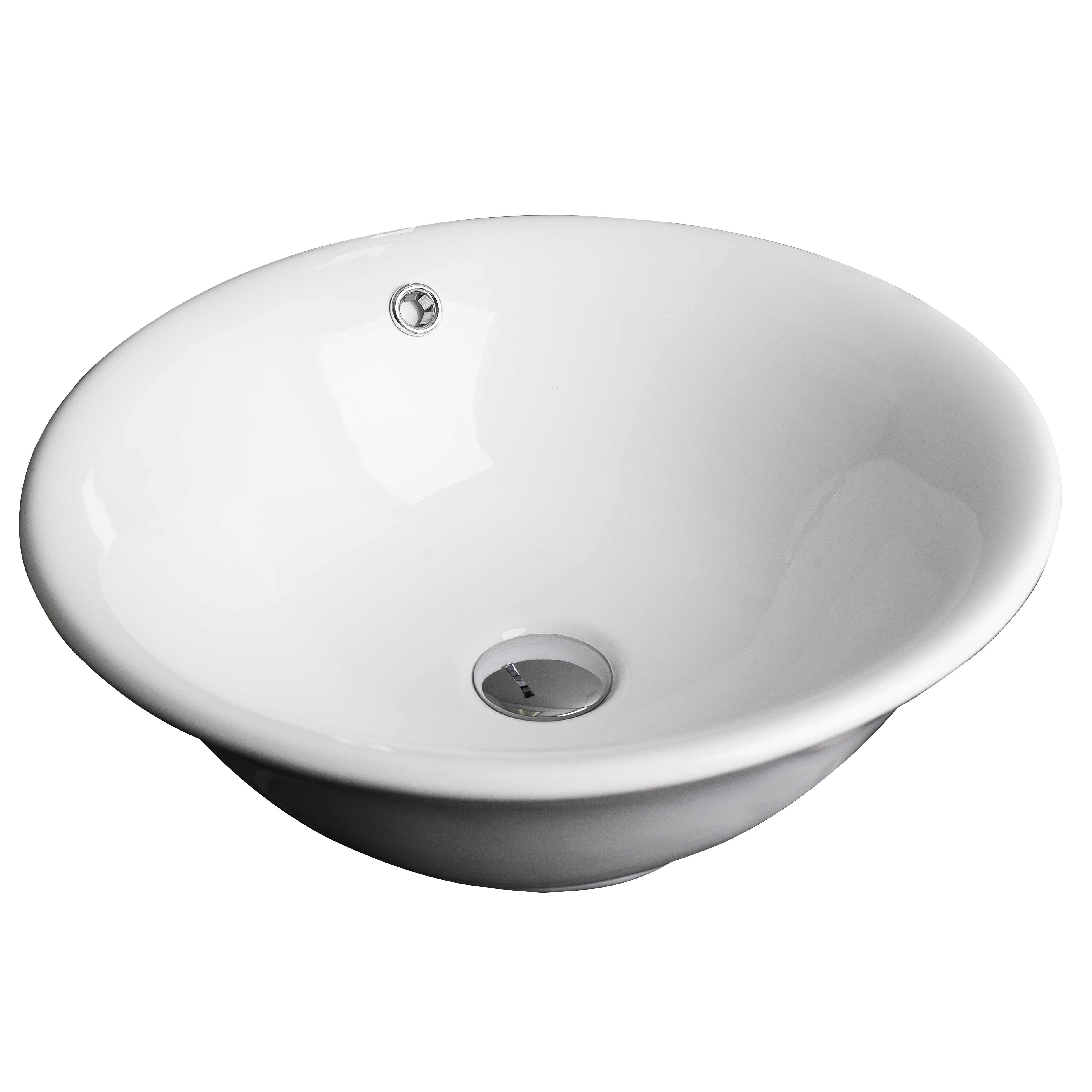 American imaginations wall mount above counter round vessel sink with overflow wayfair for Above counter bathroom sinks glass