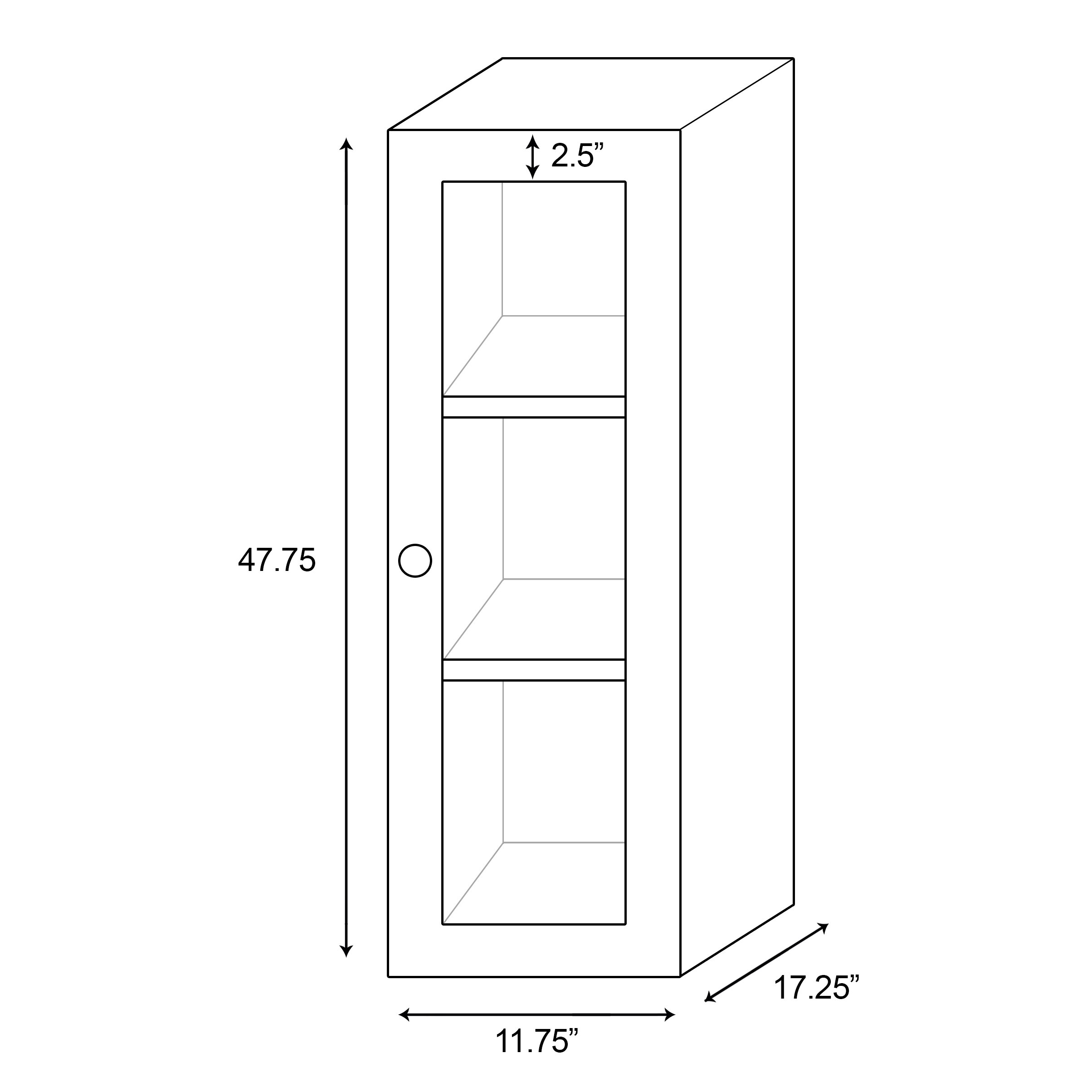 American imaginations 12 w x 48 h wall mounted cabinet for 12 x 48 window
