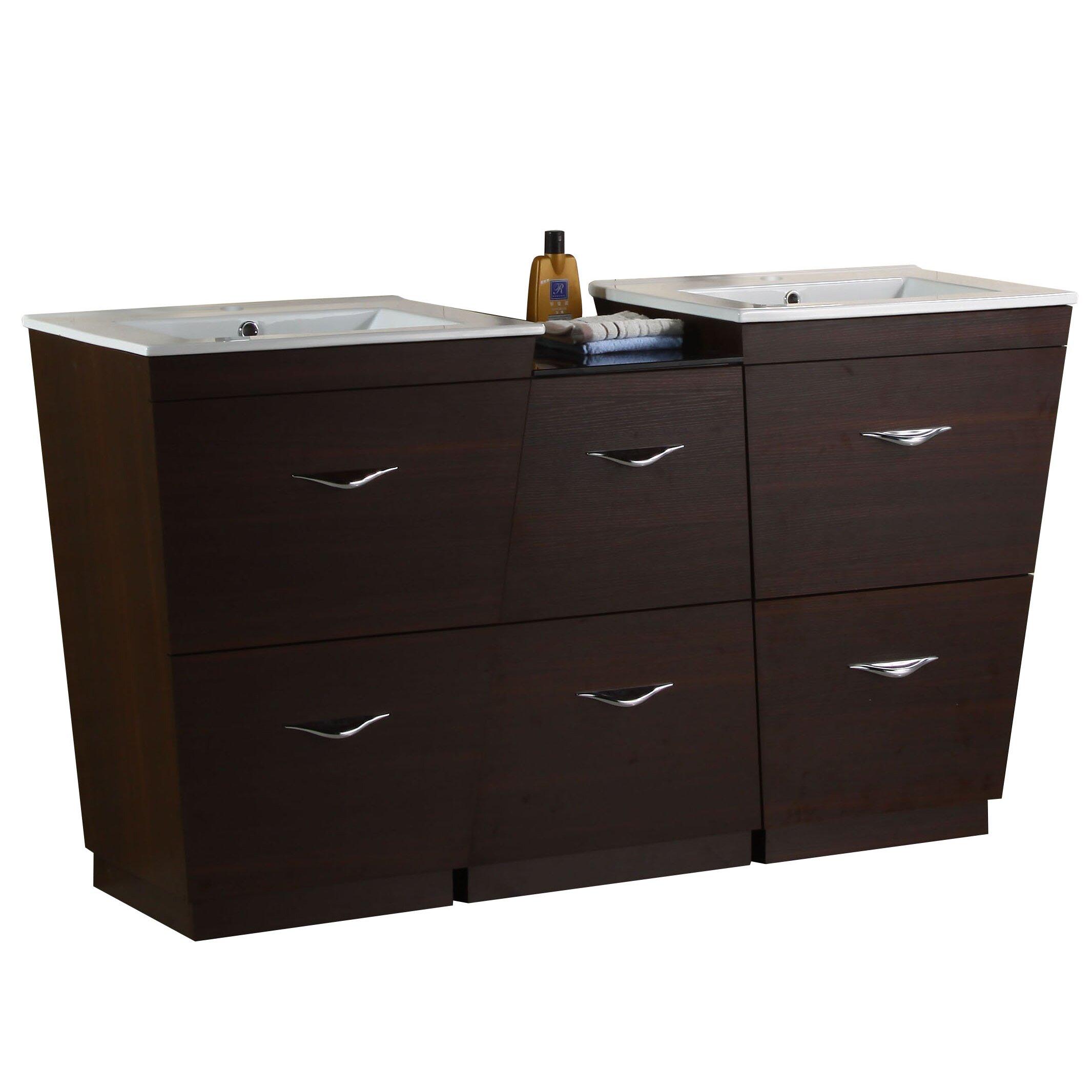 American imaginations 67 5 double modern bathroom vanity for Levi 29 5 single modern bathroom vanity set