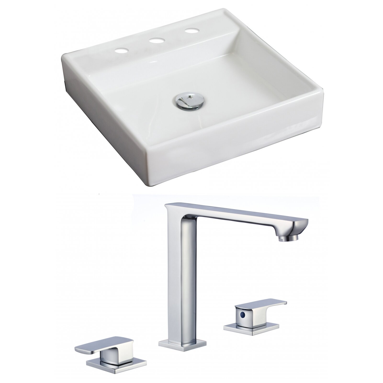 American Imaginations Square Vessel Bathroom Sink with Overflow ...