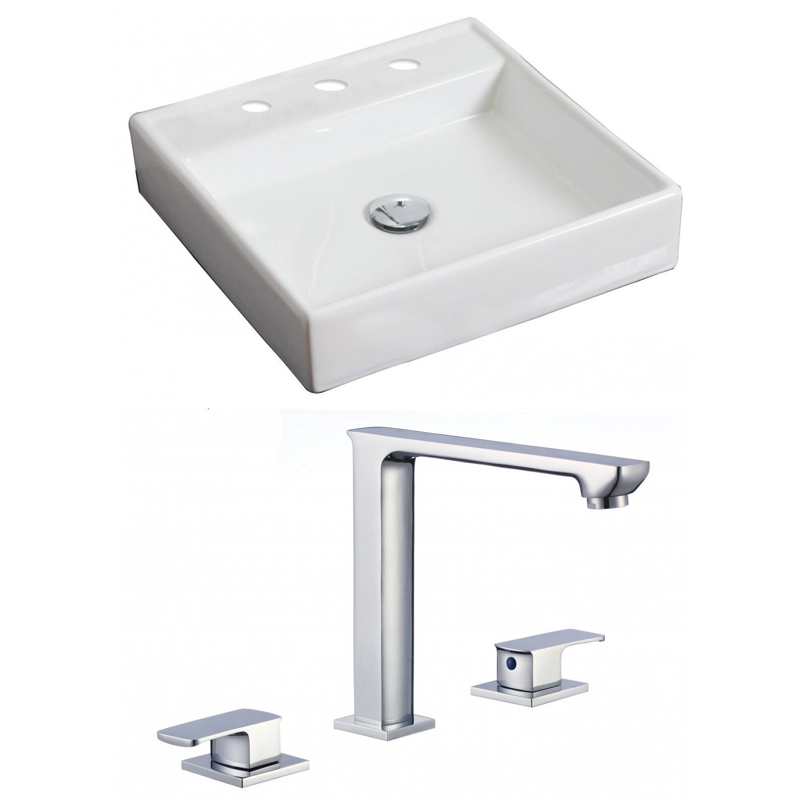 Square Vessel Bathroom Sink : American Imaginations Square Vessel Bathroom Sink with Overflow ...