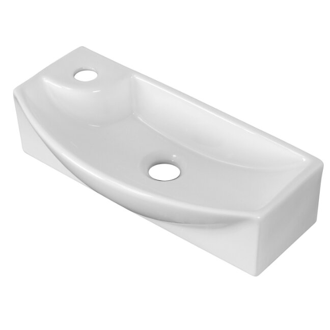 American imaginations above counter rectangle vessel bathroom sink wayfair for Above counter bathroom sinks glass
