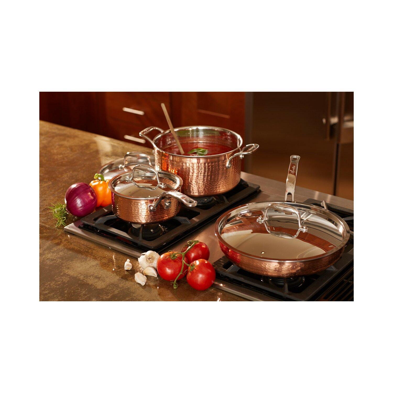 Lagostina martellata 10 piece copper cookware set for Lagostina kitchen tool set 8 pc