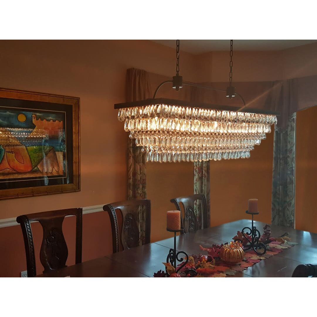 LightUpMyHome The Weston 6 Light Glass Drop Chandelier