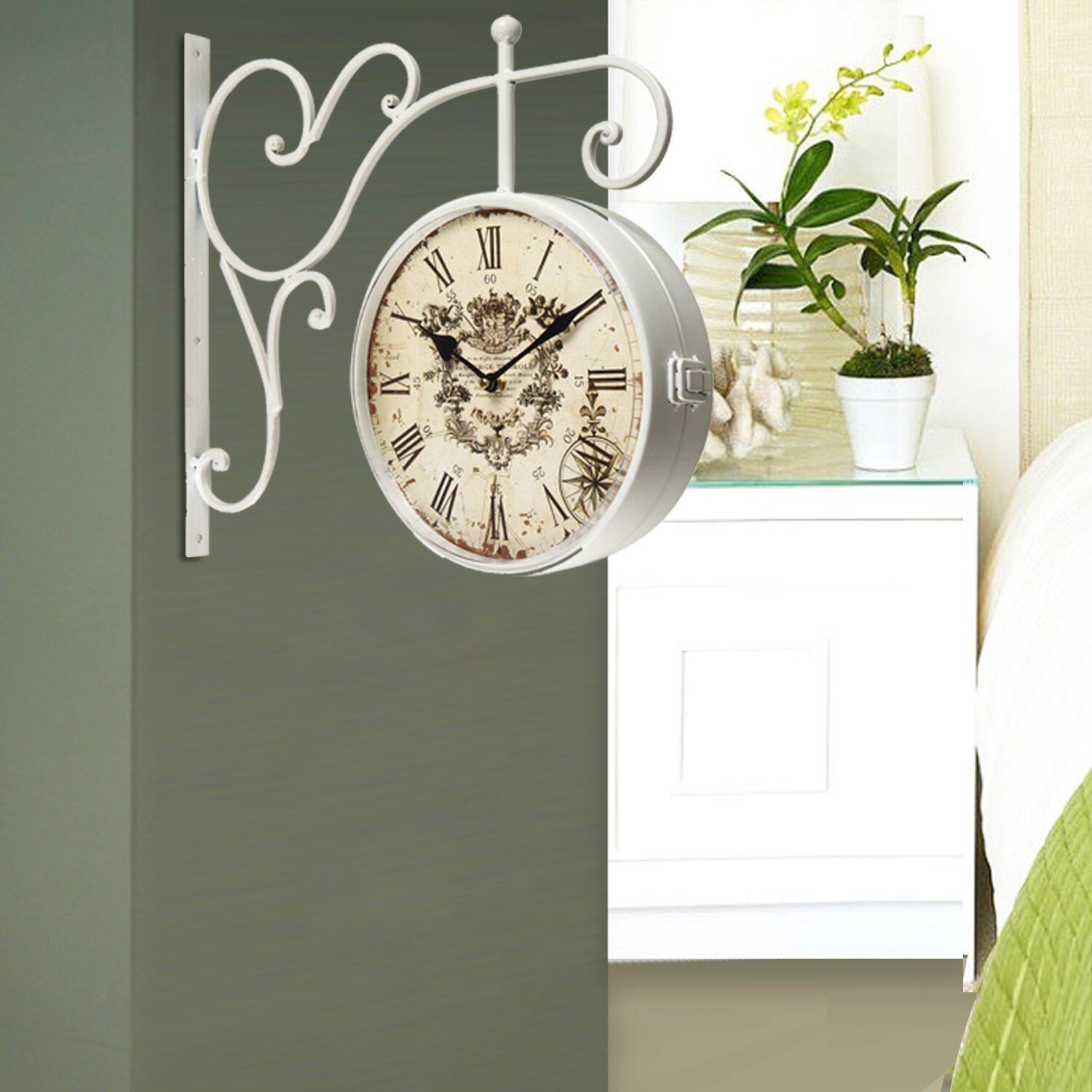 Adecotrading Vintage Inspired Round Double Sided Wall