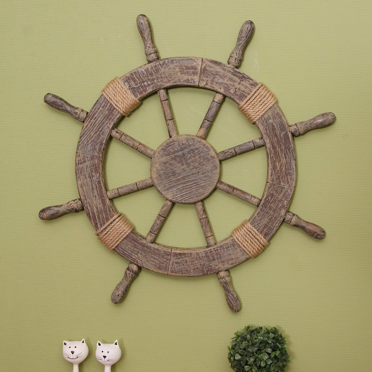 Adecotrading ornamental nautical ship steering wheel home for Ship decor home
