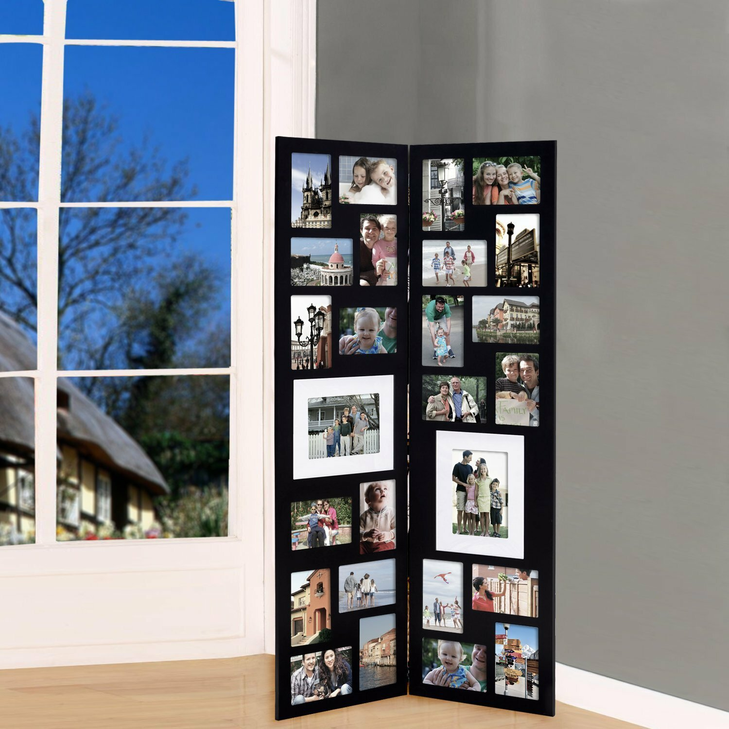adecotrading 26 opening decorative wood folding floor standing photo collage picture frame. Black Bedroom Furniture Sets. Home Design Ideas