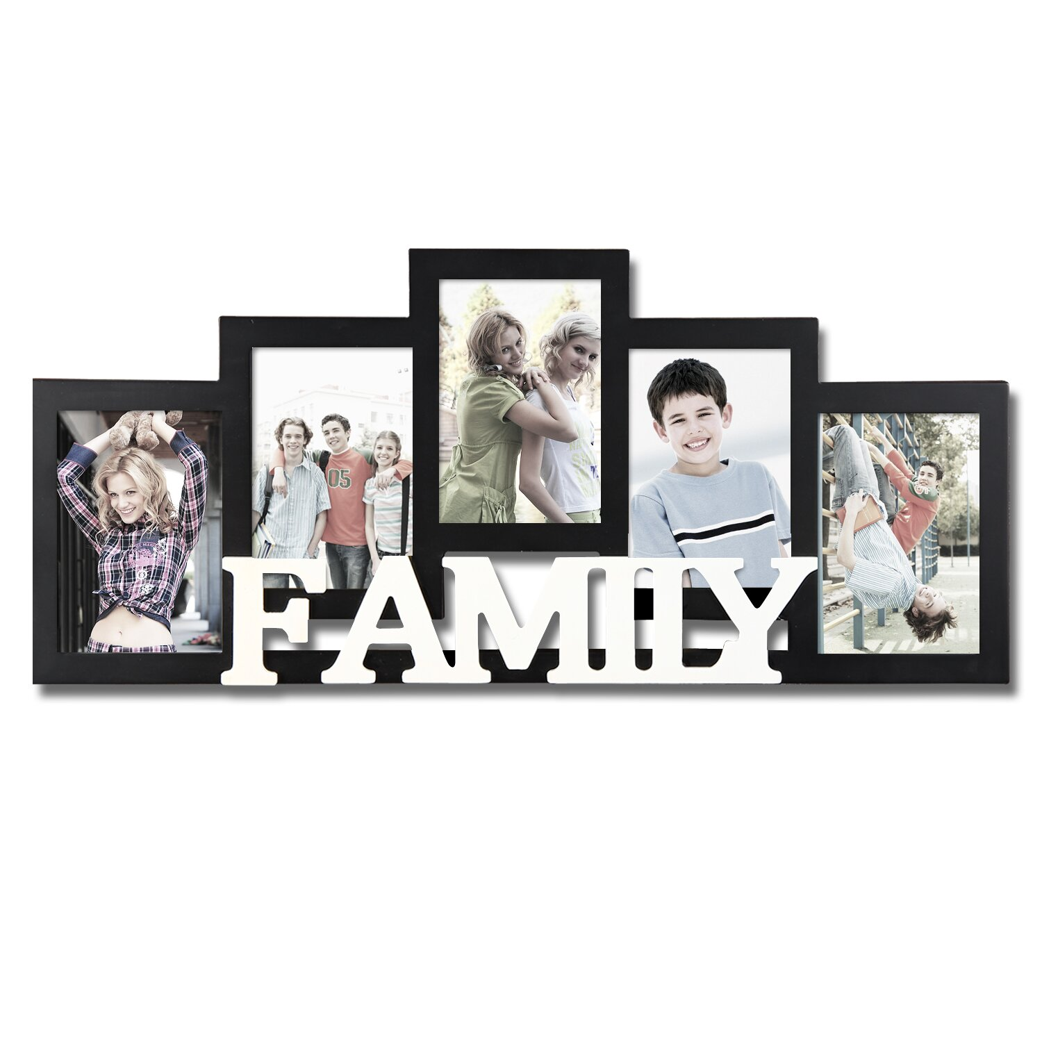 Adecotrading 5 opening wooden photo collage wall hanging for Picture frame hanging designs