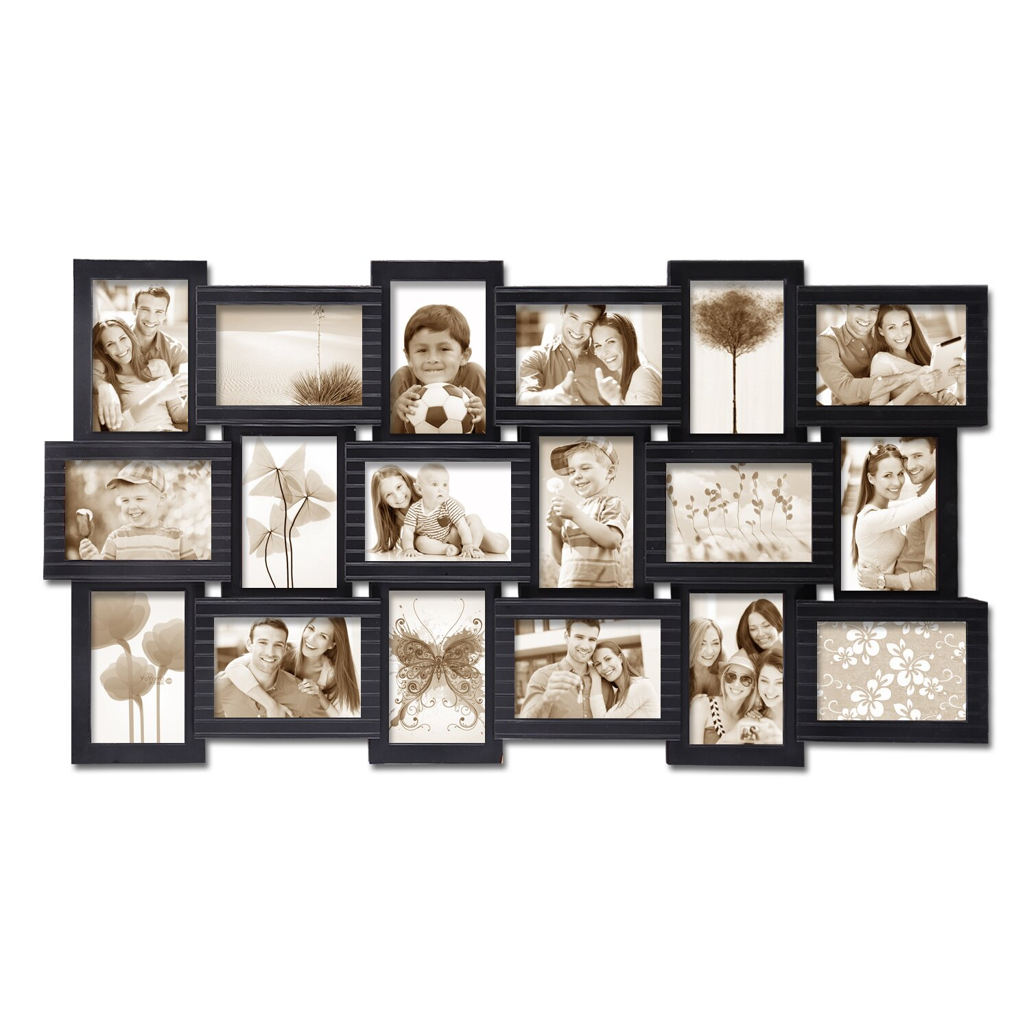 adecotrading 18 opening plastic photo collage wall hanging. Black Bedroom Furniture Sets. Home Design Ideas