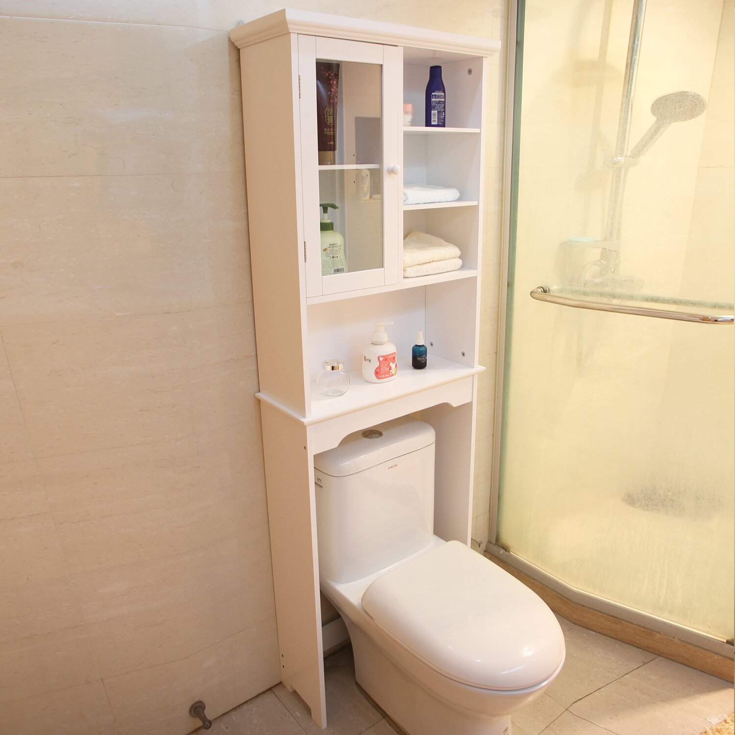 Adecotrading 24 x 68 5 free standing over the toilet for Bathroom cabinets reviews