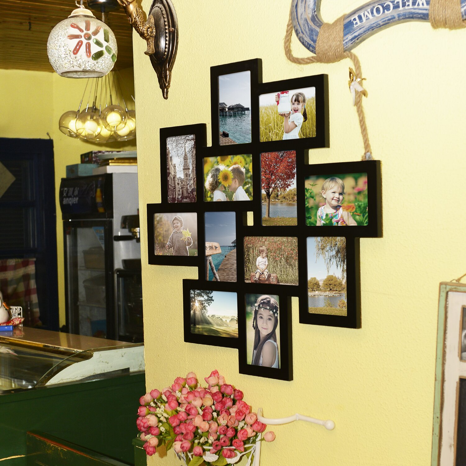 Adecotrading 12 Opening Decorative Wood Photo Collage Wall